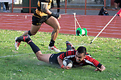Kris Smithson scores Papakura's third try. Counties Manukau Premier Club Rugby game between Papakura and Bombay, played at Massey Park Papakura on Saturday June 16th 2018. Bombay won the game 36 - 17 after leading 17 - 7 at halftime.<br /> Papakura Ray White 17 - Kris Smithson 2, Taafaga Tagaloa tries, Monty Punatai conversion.<br /> Bombay 36 - Jordan Goldsmith, Haamiora Clarke 2, Patrick Masoe, Mitchell Thackham, Chay Mackwood tries, Jordan Goldsmith 2, Ki<br /> Anufe conversions.<br /> Photo by Richard Spranger.