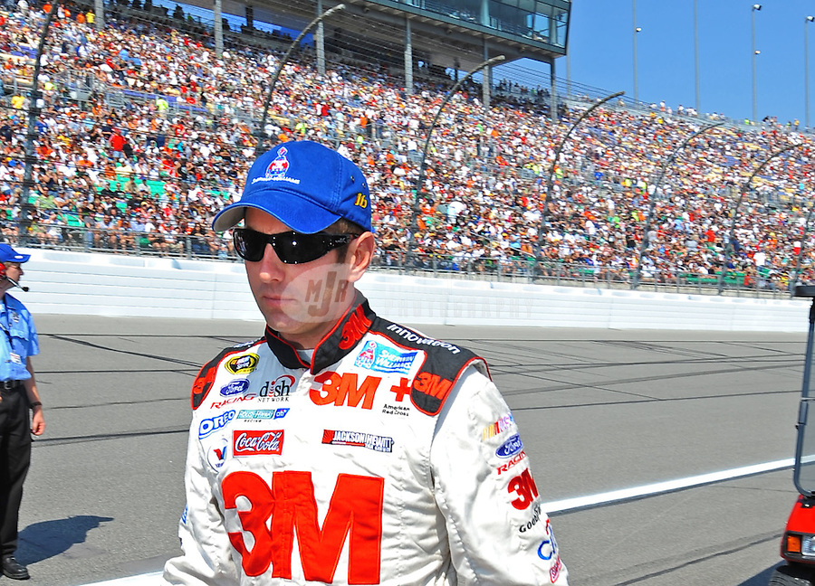Sept. 28, 2008; Kansas City, KS, USA; Nascar Sprint Cup Series driver Greg Biffle prior to the Camping World RV 400 at Kansas Speedway. Mandatory Credit: Mark J. Rebilas-