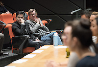 Fourteen Occidental College students participate in a panel discussion about their experiences working on presidential, senate, house, governor and state legislative races in eleven states this fall as part of Campaign Semester, Dec. 8, 2016 in Choi Auditorium. Oxy is the only college in the country with a program like this.<br />