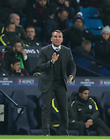 Celtic Manager Brendan Rogers during the UEFA Champions League GROUP match between Manchester City and Celtic at the Etihad Stadium, Manchester, England on 6 December 2016. Photo by Andy Rowland.