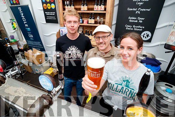 Brendan Joy, Michael Bank and Simonne McCarthy, pictured at the Killarney Brewing Company stand at Killarney Beerfest held at the INEC, Killarney on Saturday evening last.