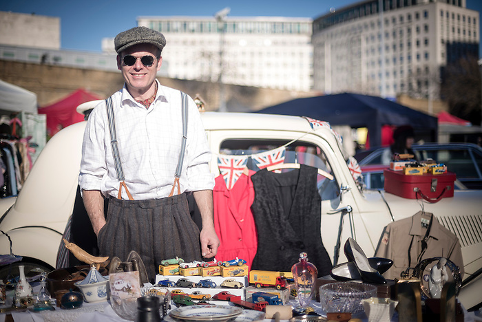 Portrait Of A Man In Vintage Fashion At The Classic Car Boot Sale