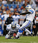 28 August 2008:  Detroit Lions' place kicker Jason Hanson converts a touchdown in the second quarter against the Buffalo Bills at Ralph Wilson Stadium in Orchard Park, NY. The Lions defeated the Bills 14-6 in their fourth and final pre-season game...Mandatory Photo Credit: Ed Wolfstein Photo