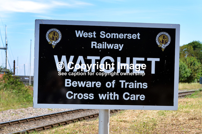 Pedestrian warning notice, Watchet Station, West Somerset Railway, UK, July, 2014, 201407093464<br />