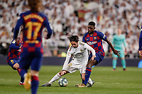 1st March 2020; Estadio Santiago Bernabeu, Madrid, Spain; La Liga Football, Real Madrid versus Club de Futbol Barcelona; Nelson Semedo (FC Barcelona) challenges Francisco Alarcon, ISCO (Real Madrid),