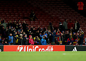 7th December 2017, Emirates Stadium, London, England; UEFA Europa League football, Arsenal versus BATE Borisov; BATE Borisov fans look on from the away stand