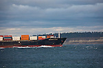 Container ship, Sealand Ningbo, Maersk Sealand, entering Puget Sound, off Point Wilson, Washington State, bound for Port of Tacoma,