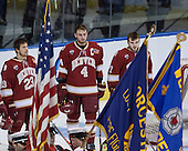 Matt Marcinew (DU - 23), Josiah Didier (DU - 4), Will Butcher (DU - 7) - The Boston College Eagles defeated the University of Denver Pioneers 6-2 in their NCAA Northeast Regional semi-final on Saturday, March 29, 2014, at the DCU Center in Worcester, Massachusetts.