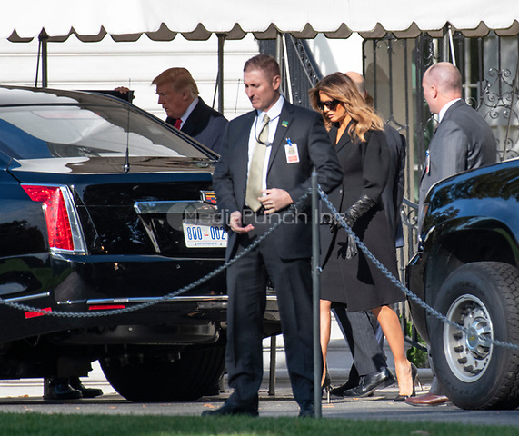 United States President Donald J. Trump and First lady Melania Trump get into their car in the motorcade to travel to the Supreme Court of the US for the Investiture ceremony for Associate Justice of the Supreme Court Brett Kavanaugh in Washington, DC on Thursday, November 8, 2018.<br /> Credit: Ron Sachs / Pool via CNP /MediaPunch