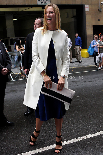 WWW.ACEPIXS.COM . . . . .  ....September 15 2011, New York City....Uma Thurman arriving at the Calvin Klein Collection Spring 2012 fashion show during Mercedes-Benz Fashion Week on September 15, 2011 in New York City.....Please byline: NANCY RIVERA- ACEPIXS.COM.... *** ***..Ace Pictures, Inc:  ..Tel: 646 769 0430..e-mail: info@acepixs.com..web: http://www.acepixs.com