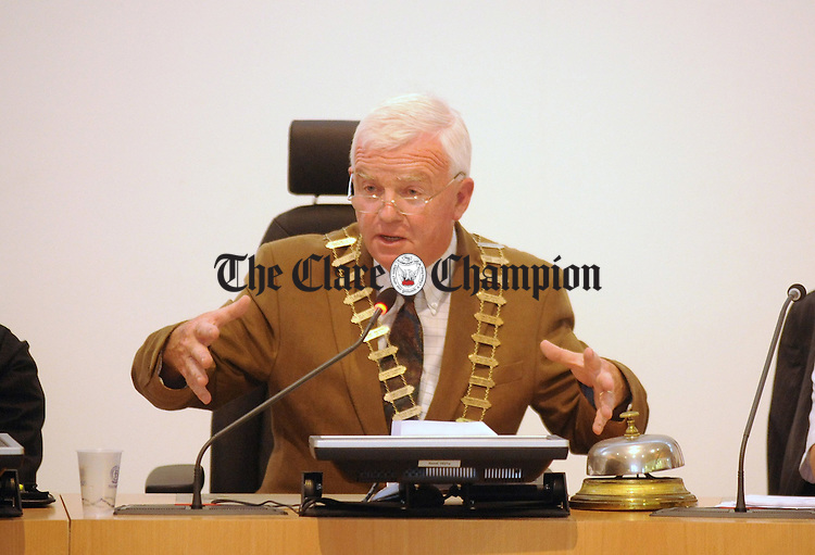 Councillor Christy Curtin at the council meeting on Monday during which he was elected the new Mayor of Clare. Photograph by Declan Monaghan