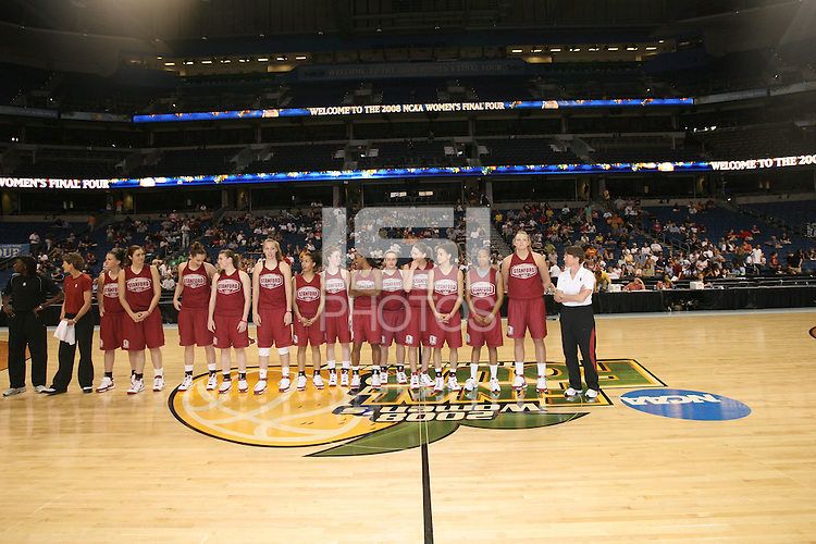 5 April 2008: Stanford Cardinal (L-R) assistant coach Bobbie Kelsey, associate head coach Amy Tucker, Jillian Harmon, Morgan Clyburn, Ashley Cimino, Jeanette Pohlen, Kayla Pedersen, Rosalyn Gold-Onwude, Hannah Donaghe, Candice Wiggins, JJ Hones, Michelle Harrison, Cissy Pierce, Melanie Murphy, Jayne Appel, and head coach Tara VanDerveer during Stanford's 2008 NCAA Division I Women's Basketball Final Four open practice at the St. Pete Times Forum Arena in Tampa Bay, FL.