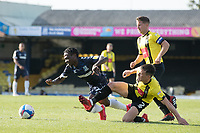 Ryan Fallowfield, Harrogate Town,  wins the ball fairly as Jordan Green, Southend United, goes to ground during Southend United vs Harrogate Town, Sky Bet EFL League 2 Football at Roots Hall on 12th September 2020