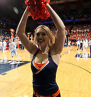 Virginia cheerleaders perform during an NCAA basketball game Monday Jan. 20, 2014 in Charlottesville, VA. Virginia defeated North Carolina 76-61.