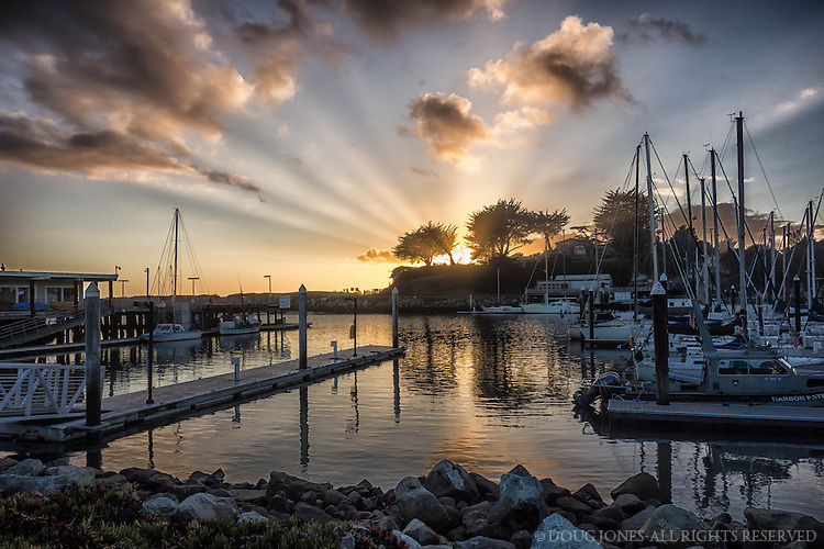 This is a single image of a recent sunset over the west side of the Santa Cruz Harbor on a quiet fall evening.
