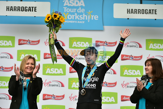 Giorgia Bronzini (ITA) Wiggle-High5 on the podium at the end of the ASDA Women's Tour de Yorkshire 2017 running 122.5km from Tadcaster to Harrogate, England. 29th April 2017. <br /> Picture: ASO/P.Ballet | Cyclefile<br /> <br /> <br /> All photos usage must carry mandatory copyright credit (&copy; Cyclefile | ASO/P.Ballet)