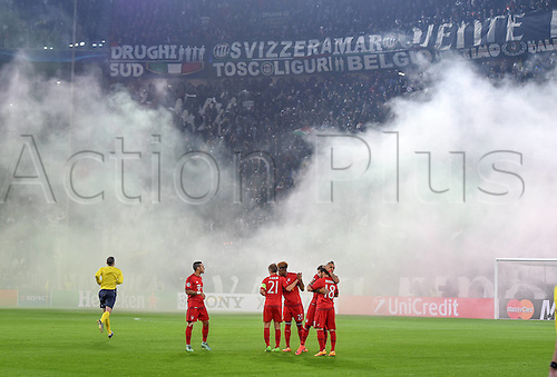 23.02.2016. Turin, Italy. UEFA Champions League football. Juventus versus Bayern Munich.  The supporters from Juventus  set off smoke bombs