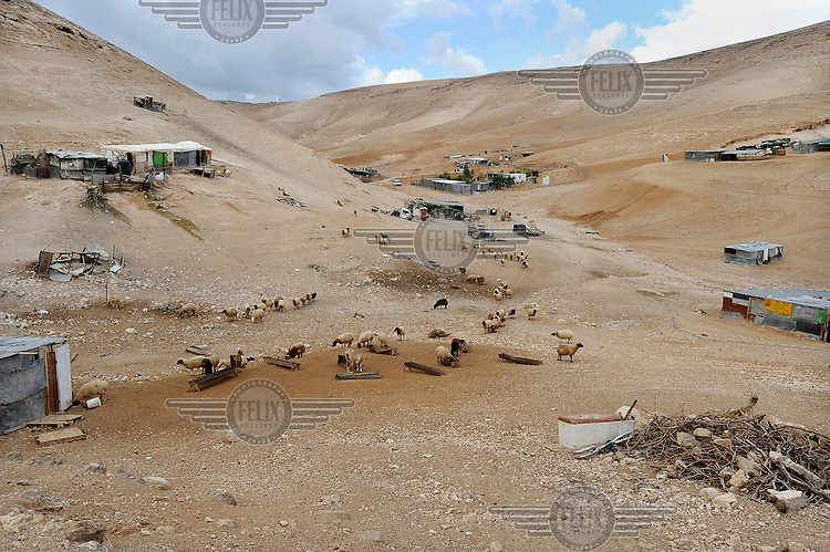 A view of an encampment of the Jahalin Bedouin tribe below the Palestinian town of al Azariyah in a part of the West Bank under Israeli control.