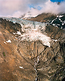 USA, Alaska, aerial view of a glacier in the Chugach Mountains in Chugach State Park