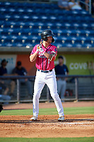 Pensacola Blue Wahoos Aaron Whitefield (2) at bat during a Southern League game against the Mobile BayBears on July 25, 2019 at Blue Wahoos Stadium in Pensacola, Florida.  Pensacola defeated Mobile 2-1 in the first game of a doubleheader.  (Mike Janes/Four Seam Images)