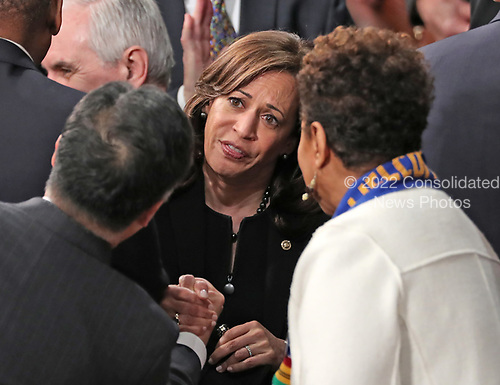 United States Senator Kamala Harris (Democrat of California) in discussion with her colleagues prior to US President Donald J. Trump delivering his second annual State of the Union Address to a joint session of the US Congress in the US Capitol in Washington, DC on Tuesday, February 5, 2019.<br /> Credit: Alex Edelman / CNP