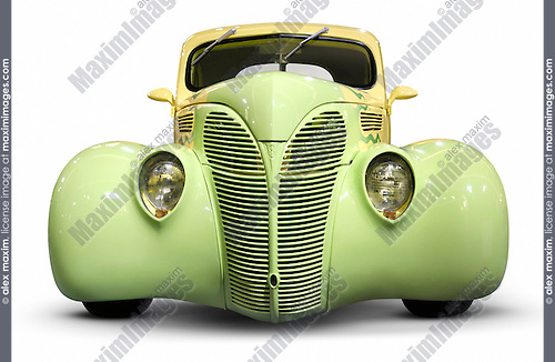 Yellow green Hot rod Ford Coupe 1938 retro car with flame pattern painted on it Front view isolated silhouette with clipping path on white background