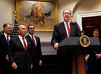 David Malpass, United States President Donald J. Trump's choice to lead the World Bank, makes remarks in the Roosevelt Room of the White House, in Washington, DC, February 6, 2019. Looking on from left: US Trade Representative Robert Lighthizer, US Secretary of Commerce Wilbur L. Ross, Jr., and US Secretary of the Treasury Steven T. Mnunchin. Photo Credit: Martin H. Simon / CNP/AdMedia