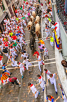 Europe,Spain,Pamplona,San Firmin festival 2018, Encierro, 8 am the bulls are released and run in the 849 m along main narrow street
