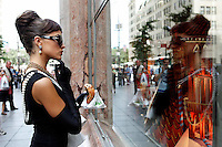 Miss USA 2012, Olivia Culpo, brings Audrey Hepburn to life in front of Tiffany's jewelry store on 5th Ave, Manhattan, NY.