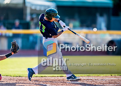16 July 2017: Vermont Lake Monsters catcher Iolana Akau connects for a single to left field in the 5th inning against the Auburn Doubledays at Centennial Field in Burlington, Vermont. The Monsters defeated the Doubledays 6-3 in NY Penn League action. Mandatory Credit: Ed Wolfstein Photo *** RAW (NEF) Image File Available ***