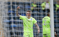 Sammie Szmodics of Colchester United celebrates his goal during the Sky Bet League 2 match between Wycombe Wanderers and Colchester United at Adams Park, High Wycombe, England on 27 August 2016. Photo by Andy Rowland.