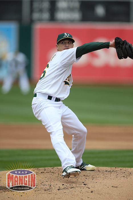 OAKLAND, CA - APRIL 2:  Scott Kazmir #26 of the Oakland Athletics pitches against the Cleveland Indians during the game at O.co Coliseum on Wednesday, April 2, 2014 in Oakland, California. Photo by Brad Mangin