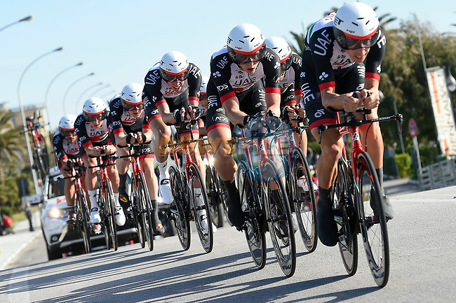 UAE Team Emirates in action during the 1st stage of the race of the two seas, 52nd Tirreno-Adriatico by NamedSport a 22.7km Team Time Trial around Lido di Camaiore, Italy. 8th March 2017.<br /> Picture: La Presse/Fabio Ferrari | Cyclefile<br /> <br /> <br /> All photos usage must carry mandatory copyright credit (&copy; Cyclefile | La Presse)