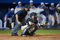 Wake Forest Demon Deacons catcher Logan Harvey (15) on defense as home plate umpire Billy Haze looks on during the game against the Florida Gators in Game Three of the Gainesville Super Regional of the 2017 College World Series at Alfred McKethan Stadium at Perry Field on June 12, 2017 in Gainesville, Florida. The Gators defeated the Demon Deacons 3-0 to advance to the College World Series in Omaha, Nebraska. (Brian Westerholt/Four Seam Images)