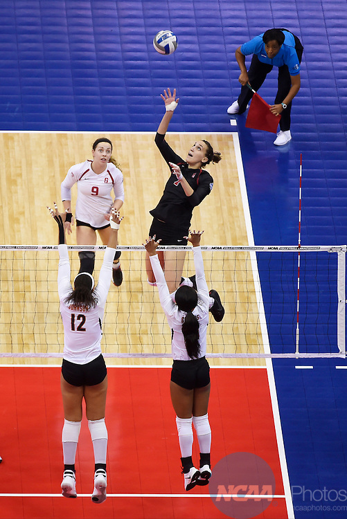 COLUMBUS, OH - DECEMBER 17:  Ivana Vanjak (7) of Stanford University dinks the ball against the University of Texas during the Division I Women's Volleyball Championship held at Nationwide Arena on December 17, 2016 in Columbus, Ohio.  Stanford defeated Texas 3-1 to win the national title. (Photo by Jamie Schwaberow/NCAA Photos via Getty Images)