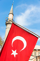 Turkish flag in Istanbul, Republic of Turkey