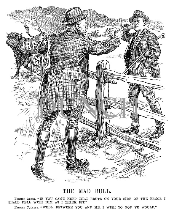"The Mad Bull. Farmer Craig. ""If you can't keep that brute on your side of the fence I shall deal with him as I think fit."" Farmer Collins. ""Well, between you and me, I wish to God ye would."" (IRA bull stamps in the background)"