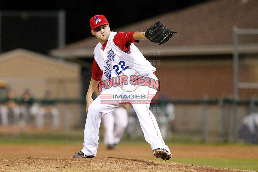 Auburn Doubledays pitcher Manny Rodriguez #22 during game two of the semi-final round of the NY-Penn League Playoff series against the Vermont Lake Monstes at Falcon Park on September 8, 2011 in Auburn, New York.  Auburn defeated Vermont 3-2.  (Mike Janes/Four Seam Images)