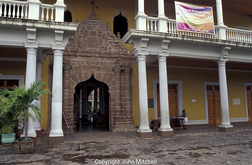 The Casa de los Leones or Casa de los Tres Mundos in Granada, Nicaragua.This Spanish colonial building now  houses an international cultural center.