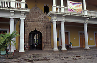 The Casa de los Leones or Casa de los Tres Mundos in Granada, Nicaragua.This Spanish colonial building now  houses an international cultural center.