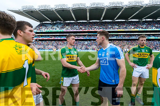 Jonathan Lyne Kerry and Paul Flynn Dublin. Kerry players celebrate after defeating Dublin at the National League Final in Croke Park on Sunday.