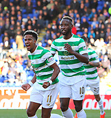 4th November 2017, McDiarmid Park, Perth, Scotland; Scottish Premiership football, St Johnstone versus Celtic; Scott Sinclair celebrates making it 1-0 with Moussa Dembele