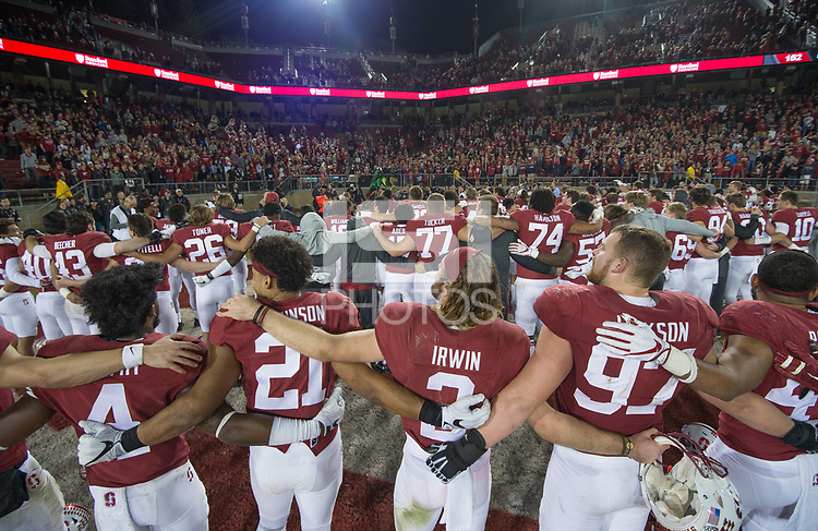 Stanford, Ca - Saturday, November 25, 2017: Stanford defeated Notre Dame 38-20 at Stanford Stadium.