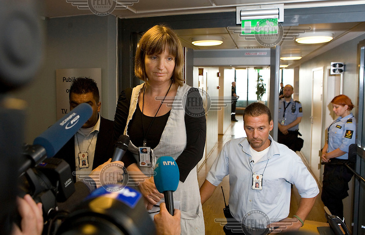 An exhausted press spokeswoman for Oslo court tells the assembled press that in a break with protocol they will not be allowed in to the hearing of Anders Behring Breivik who committed two terrorist attacks on 22nd July 2011. A large vehicle bomb was detonated near the offices of Norwegian Prime Minister Jens Stoltenberg resulting in several injuries and deaths and a mass shooting attack claimed dozens of lives on Otoeya Island about 40 Kilometres from Oslo. Breivik confessed to carrying out both atrocities.