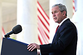 United States President George W. Bush makes remarks at Arlington National Cemetery on Memorial Day, May 26, 2008, in Arlington, Virginia.  <br /> Credit: Ken Cedeno / Pool via CNP