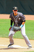 Quad Cities River Bandits first baseman Taylor Jones (46) during a Midwest League game against the Beloit Snappers on June 18, 2017 at Pohlman Field in Beloit, Wisconsin.  Quad Cities defeated Beloit 5-3. (Brad Krause/Krause Sports Photography)