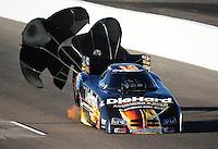 Oct. 15, 2011; Chandler, AZ, USA; NHRA funny car driver Matt Hagan during qualifying for the Arizona Nationals at Firebird International Raceway. Mandatory Credit: Mark J. Rebilas-