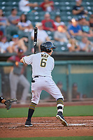 Bo Way (6) of the Salt Lake Bees at bat against the Sacramento River Cats at Smith's Ballpark on July 18, 2019 in Salt Lake City, Utah. The Bees defeated the River Cats 9-6. (Stephen Smith/Four Seam Images)