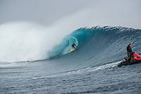 Namotu Island Resort, Nadi, Fiji (Sunday, May 27th 2018): Anthony Walsh (AUS) -<br /> There had been strong SE winds all night along with heavy rain so the ocean was messy at first light. Cloudbreak was big and bumpy at dawn and the namotu boat was the first in the line up. The set waves were in the 15' plus range  and the ocean needed to settle down before any one hit the water.<br /> As the tide dropped it cleaned up and the first surfers paddled out. The first ridden waves were tow-in and in the 20' plus range. The swell was the biggest just after the low tide and stayed in the 15'-20' range for the rest of the day.<br /> Crew paddled and towed into the waves and there were also crew who kite surfed when the wind ws strong enought.<br /> There were strong wind all day and overcast conditions with long periods of rain. The huge swell forecast had big wave surfers flying in from around the world and it had already been call the 'Black Mamba' swell, one of the biggest to hit Fiji in the past six years.  <br /> Photo: joliphotos.com