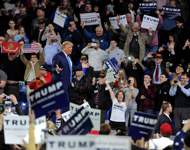 (Lowell, MA, 01/04/16) Republican presidential candidate Donald Trump speaks during a campaign rally at the Tsongas Center in Lowell on Monday, January 04, 2016. Photo by Christopher Evans